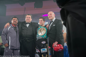 Maricio Sulaiman and Carlos Cuadras ring corner